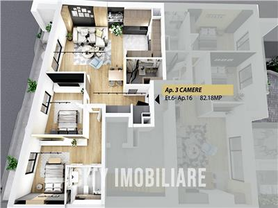 Penthouse 3 camere cu 2 bai, S-82 mp+ terasa, bloc nou, Semicentral
