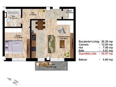 Apartament 2 camere, S-53 mp+ 5mp.terasa, bloc nou, Centru