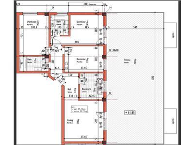 Apartament 4 camere Decomandat, cu 3 bai, S-89 mp, terasa 90 mp., bloc nou, CF, str. Corneliu Coposu