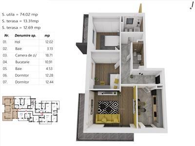 Apartament 3 camere, S-74 mp. + 2 terase (26mp.), zona LIDL