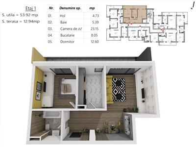 Apartament 2 camere, S-55 mp. + 7mp terasa, zona LIDL