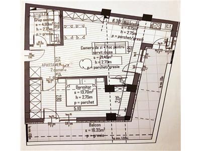 Aparatment 2 camere, 47 mp + 16 Terasa, Panorama, bloc Nou, Semicentral.