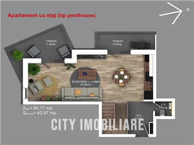 Penthouse pe 2 nivele, S-84mp +2 balcoane, CF, bloc nou, Buna Ziua