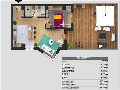 Apartament 2 camere, S-53mp + 50mp. Terasa, CF, Buna Ziua.